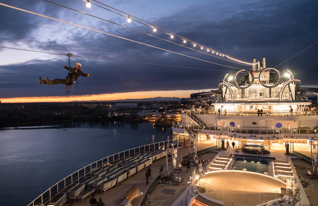 The zip line onboard MSC Seaside, courtesy MSC Cruises